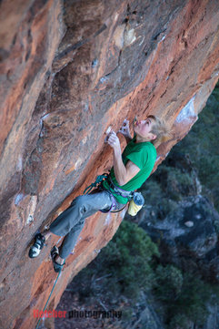Alex Megos in R.E.D Retired Extremely Dangerous (35/9a)