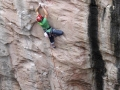 James Pearson on his new route Do You Know Where Your Children Are? graded at E9 6c in Huntsman's Leap Pembroke