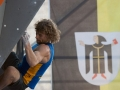 Mykhailo Shalagin of Ukraine during the Mens finals of the IFSC Boulder Worldcup held in Munich, Germany.