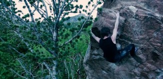 "Dave Graham on ""The Phoenix"" (8B+) (c) Trangoworld"