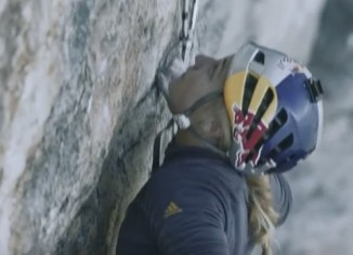 "Sasha DiGiulian and Carlo Traversi climbing ""Magic Mushroom"" (7c+) (c) adidas Outdoor"