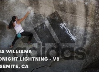 "Nina Williams on ""Midnight Lightning"" (V8) in Yosemite Valley, CA (c) adidas Outdoor"