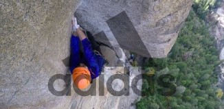 "Nina Williams and Helen Sinclair climbing ""The Rostrum"" (5.11c) in Yosemite Valley, CA (c) adidas Outdoor"