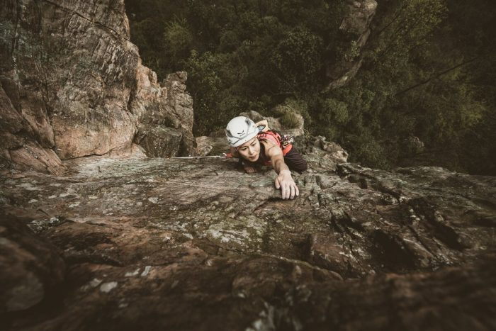 Totally focused, Ting faces her fears on her first trad lead. (c) Frank Kretschmann/adidas Outdoor