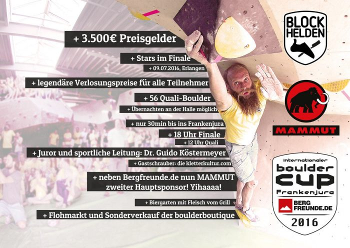 Internationaler bouldercup Frankenjura 2016 bei den BLOCKHELDEN in Erlangen (c) BLOCKHELDEN