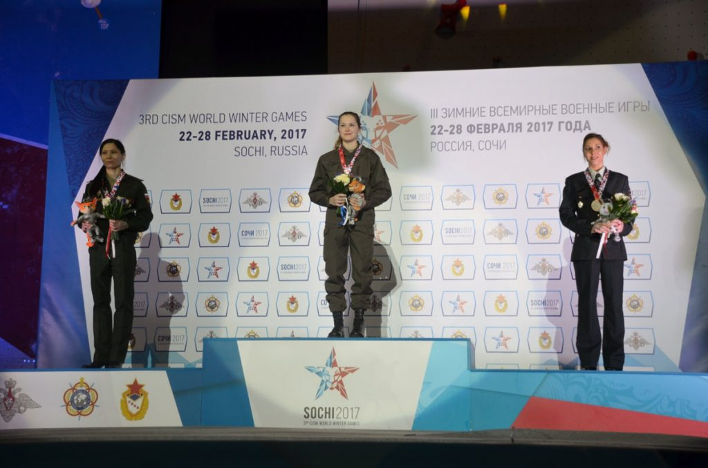 Siegerpodest Damen bei den CISM World Games 2017 in Sochi (c) Peter Feeg
