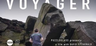 David Fitzgerald on 'Voyager' (8B+) (c) Puzzleglass