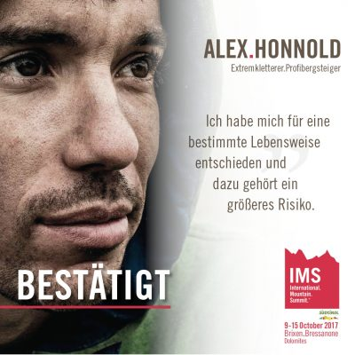 Alex Honnold beim International Mountain Summit 2017 (c) IMS