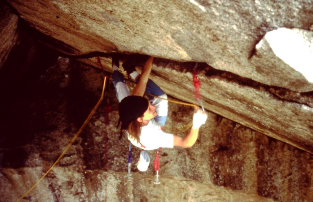 Martin Joisten climbing 'Separate Reality' (5.11d), Yosemite Valley/CA in 1990.