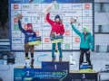 Angelika Rainer, Woon Seon Shin und Petra Klingler bei der Eiskletter-WM 2015 in Rabenstein (c) Harald Wisthaler