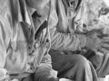 Stephan Siegrist und Michal Pitelka in der Ausrüstung der Erstbesteiger in der Eiger Nordwand, 2002 (Photo: Mammut/Thomas Ulrich)