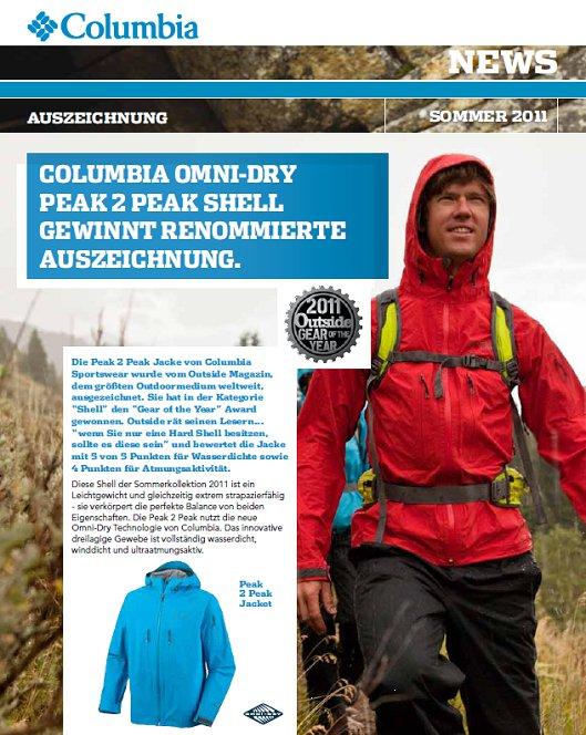 Columbia Omni-Dry Peak 2 Peak Shell mit Out-Dry Technologie gewinnt renommierte Auszeichnung