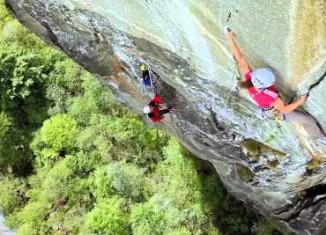 Barbara Zangerl climbing Super Cirill (8a)