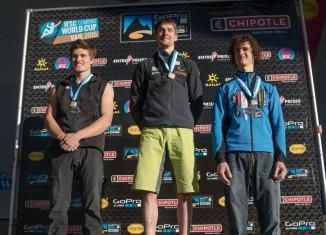 Boulderweltcup 2015 in Vail: Siegerpodest Herren mit Nathaniel Coleman, Jan Hojer und Adam Ondra (c) ISFC/Eddie Fowke - the circuit climbing