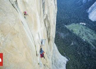 "Emily Harrington sends ""Golden Gate"" (5.13 VI) on El Capitan (c) The North Face"
