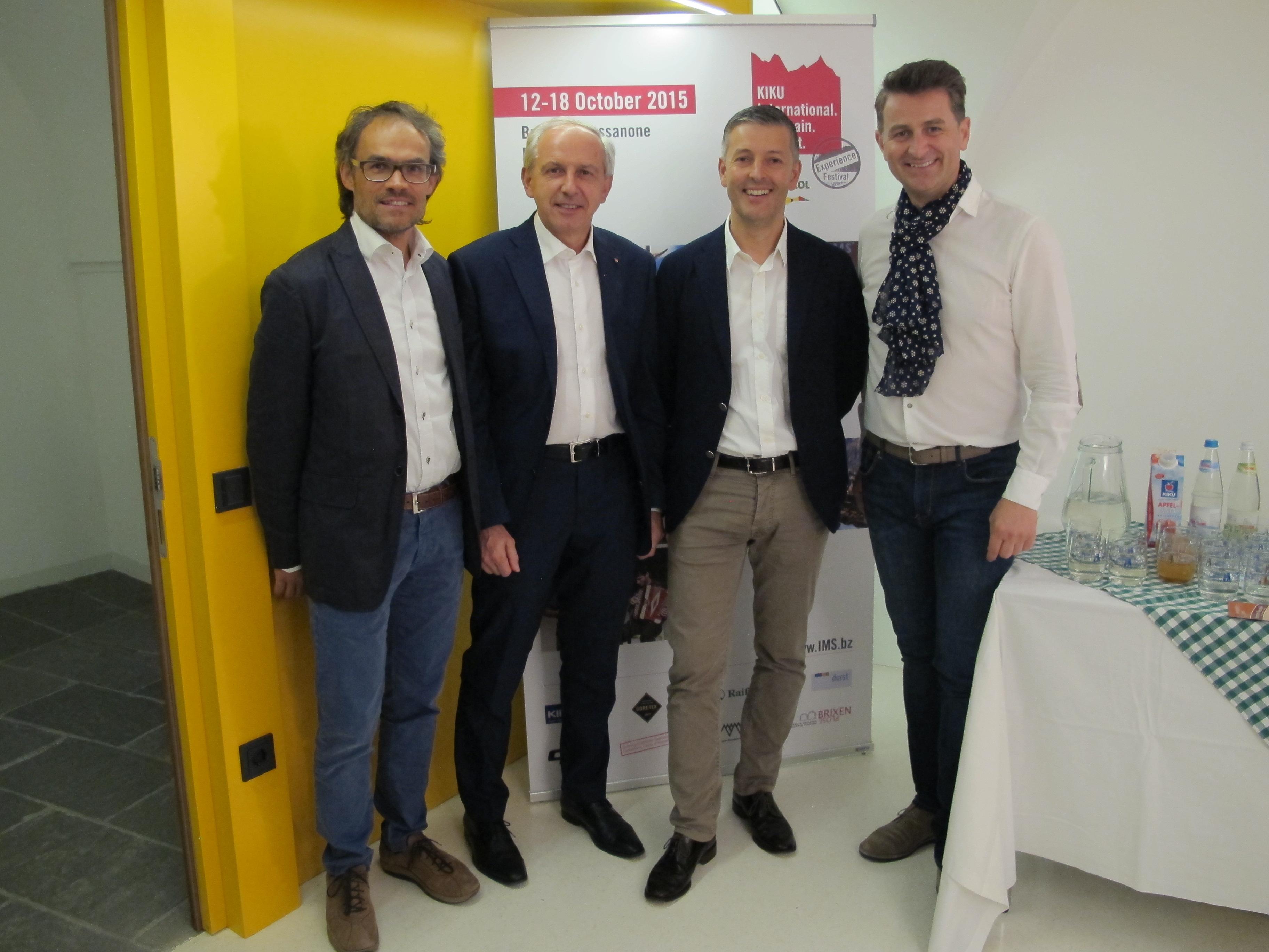 IMS Präsident Markus Gaiser, Vizebürgermeister (Brixen) Claudio Del Piero, Bürgermeister (Brixen) Peter Brunner, IMS Gründer Alex Ploner (c) IMS