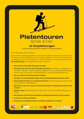 Die Skitourensaison spielt sich derzeit hauptsächlich auf präparierten Pisten ab. Die 10 Verhaltensregeln für Pistengeher, erarbeitet vom Alpenverein und dem Kuratorium für Alpine Sicherheit, sollen zu einem konfliktfreien Miteinander in den Skigebieten beitragen. (c) ÖAV
