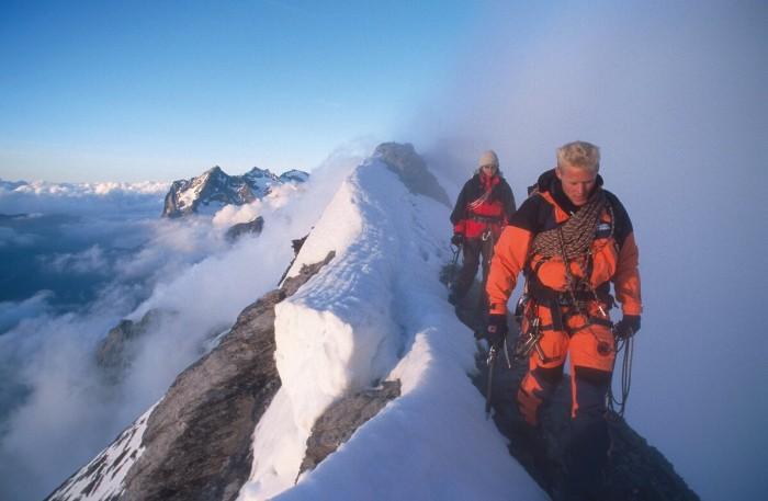 Stephan Siegrist auf dem Mittellegi-Grat am Eiger, 1999 (c) Mammut/Thomas Ulrich