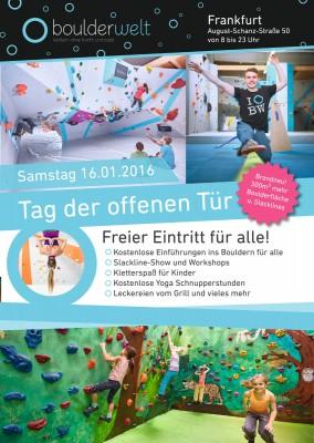 Tag der offenen Tür am 16.01.2016 in der Boulderwelt Frankfurt
