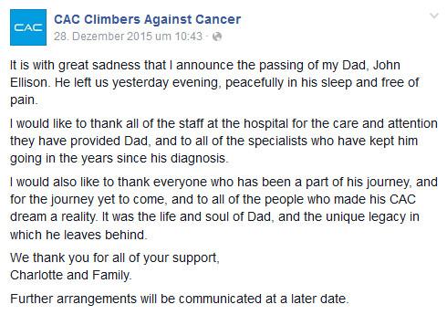 Die traurige Nachricht von John Ellisons Tod wurde auf der CAC Facebook Seite durch Johns Tochter Charlotte bekannt gegeben (c) Facebook