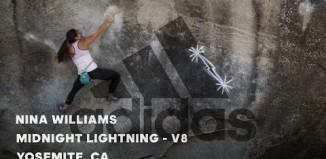 """Nina Williams on """"Midnight Lightning"""" (V8) in Yosemite Valley, CA (c) adidas Outdoor"""