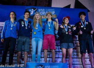 Boulderweltcup 2016 in Kazo: Siegerpodest (c) IFSC/Eddie Fowke