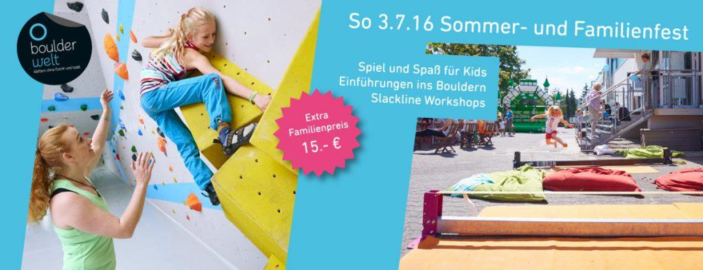 Die Boulderwelt Frankfurt lädt zum Sommer- und Familienfest 2016 (c) Boulderwelt Frankfurt