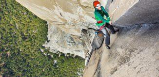 """Jorg Verhoeven bei seiner freien Begehung der """"Nose"""" am El Capitan (c) Jon Glassberg"""