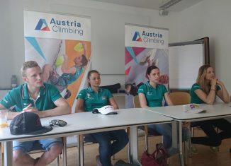 Jakob Schubert, Magdalena Röck, Katharina Posch, Jessica Pilz bei der heutigen Pressekonferenz in Innsbruck (c) KVÖ / Heiko Wilhelm