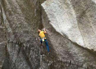 Alex Megos on One Day Ascent of Dreamcatcher (5.14d) in Squamish, BC (c) Tim Schaufele