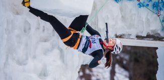 Han Na Rai Song beim Eiskletterweltcup 2107 in Rabenstein (c) Patrick Schwienbacher