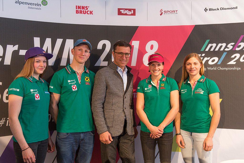 Jessica Pilz, Jakob Schubert, Josef Margreiter, Anna Stöhr und Katharina Saurwein (c) Elias Holzknecht