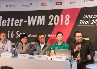 Kletter-WM 2018 Pressekonferenz mit Heiko Wilhelm und Michael Schöpf (c) Elias Holzknecht
