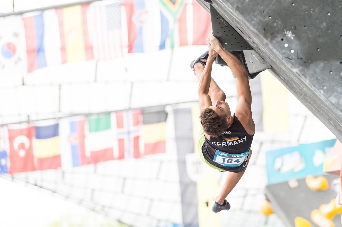 Yannick Flohé beim Boulderweltcup 2017 in München. (c) DAV/Nils Nöll