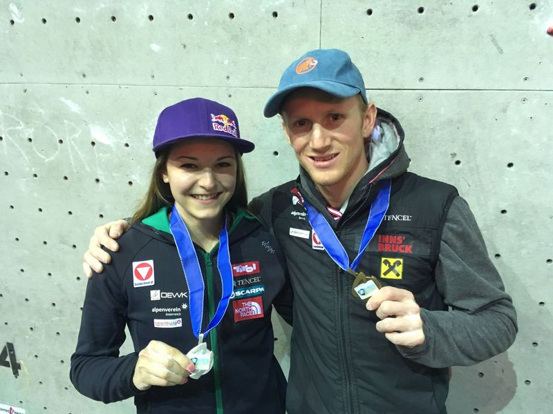 Jessica Pilz und Jakob Schubert Beim Leadweltcup 2017 in Edinburgh (c) KVÖ