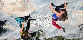 Barbara Zangerl and Nina Caprez on 'Neverending Story' (8b+) (c) Alpsolut Moving Pictures