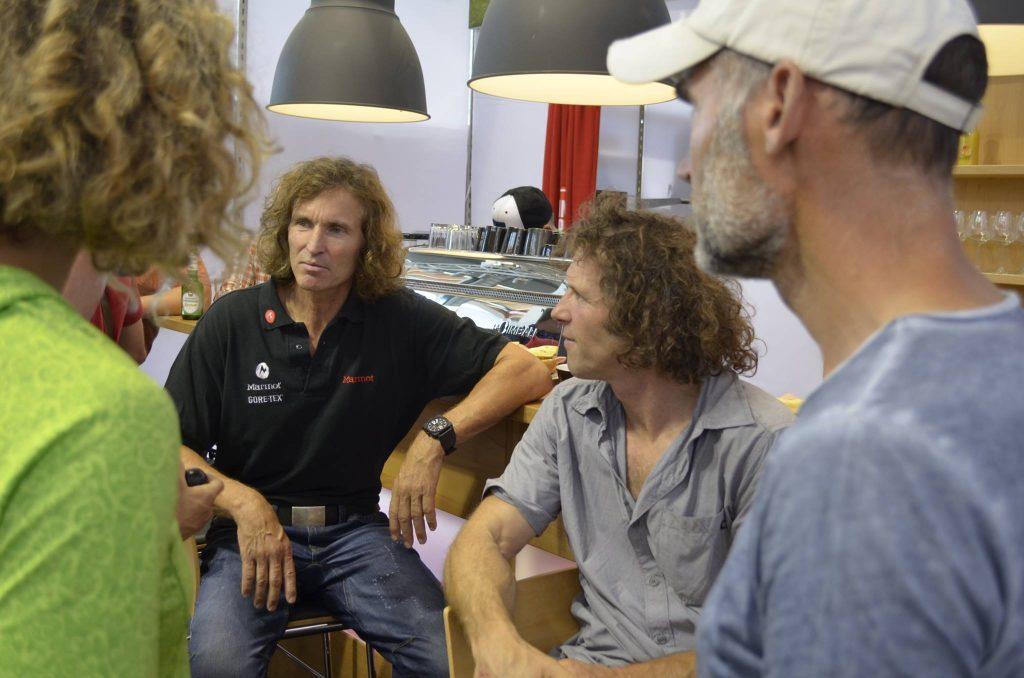 Nina Schlesener, Stefan Glowacz, Christian Schlesener und Klaus Fengler auf der OutDoor 2015 (c) Martin Joisten