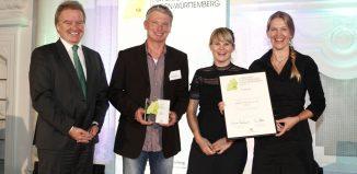 Franz Untersteller (baden-württembergischer Umweltminister), Torsten Kamp (VAUDE), Anika Mauz (VAUDE), Antje von Dewitz (VAUDE Geschäftsführerin) (c) VAUDE