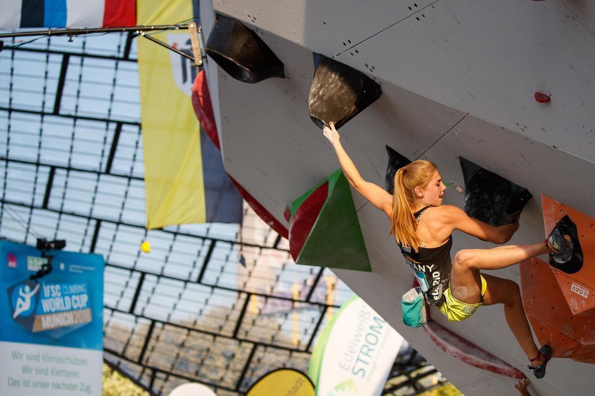 Hannah Meul bei der Qualifikation in München 2018. (c) DAV/Marco Kost