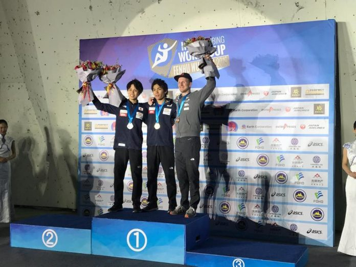 Bronze für Jakob Schubert beim Boulder Weltcup 2019 in Wujiang (CHN) (c) KVÖ, Roman Krajnik, Nikita Tsarev