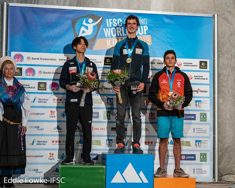 Podium Herren Leadweltcup Kranj 2019 (c) Eddie Fowke/IFSC