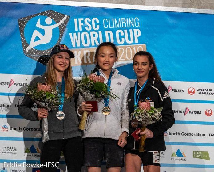 Podium Damen Leadweltcup Kranj 2019 (c) Eddie Fowke/IFSC