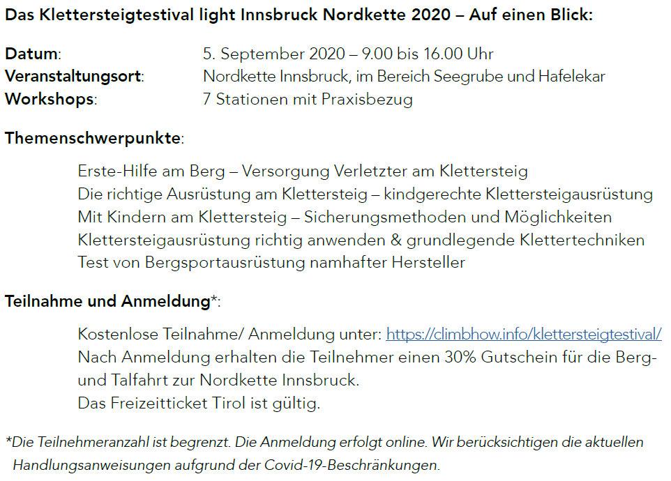Klettersteigtestival Light Innsbruck 2020