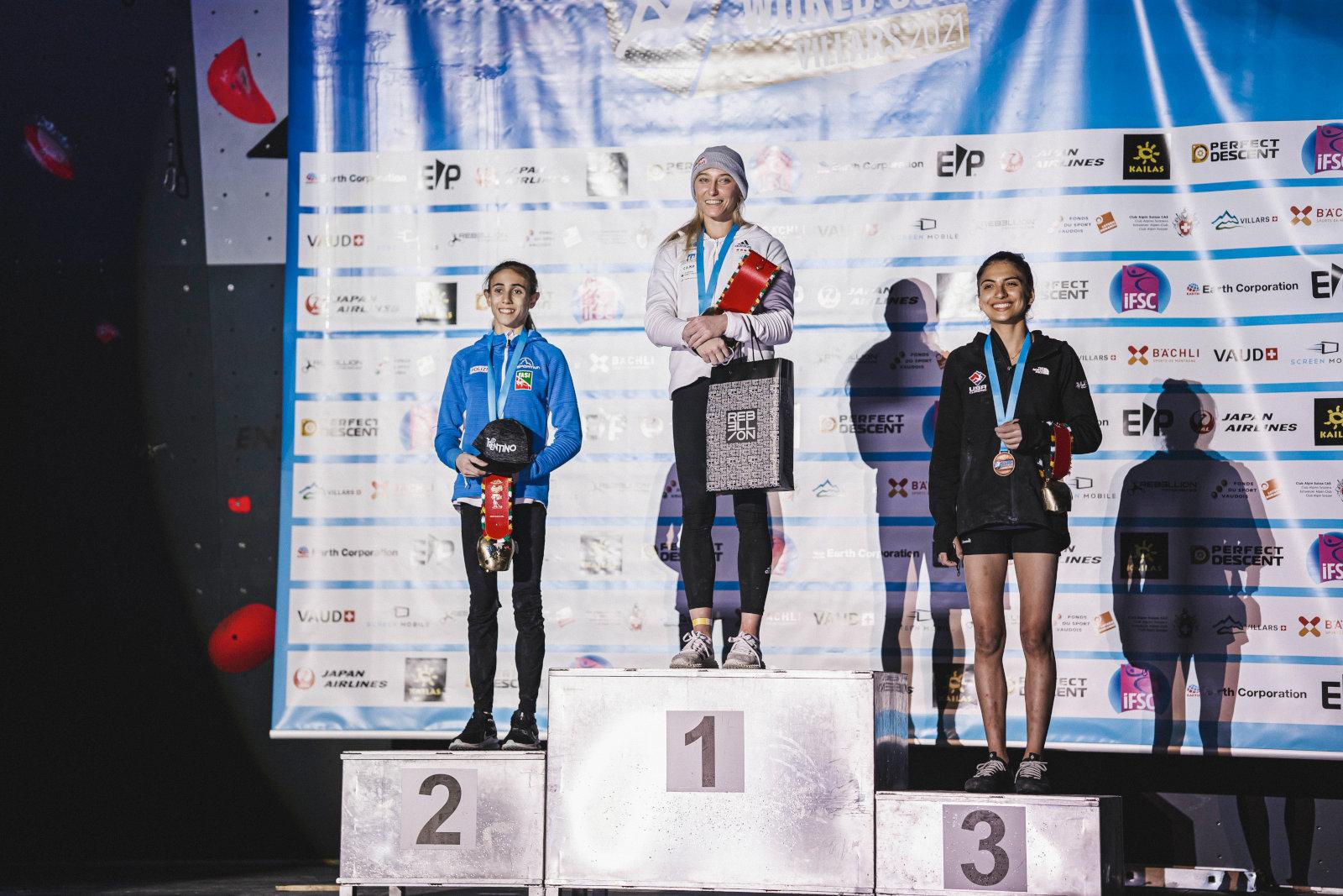 Leadweltcup 2021 in Villars: Podium Damen (c) Lena Drapella/IFSC